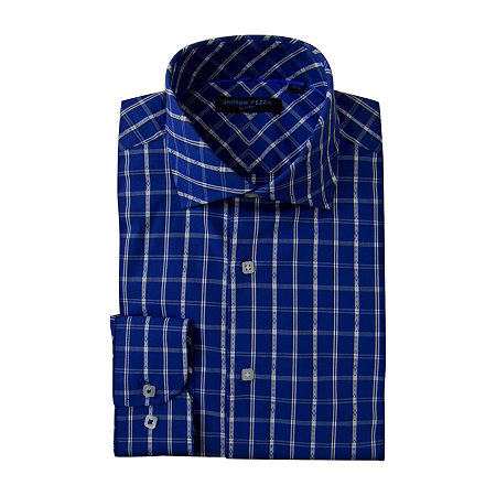 Andrew Fezze - Slim Mens Spread Collar Long Sleeve Dress Shirt, 16 34-35, Blue