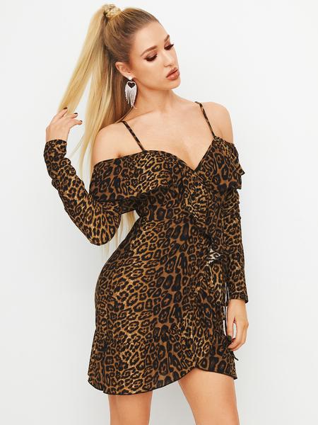 YOINS Brown Leopard Ruffle Trim Cold Shoulder Long Sleeves Dress