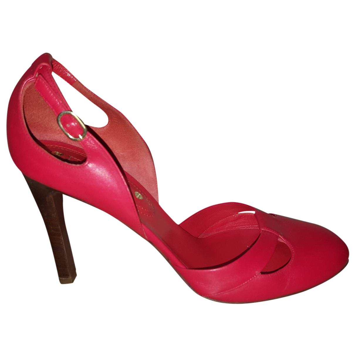 Celine - Escarpins   pour femme en cuir - rouge