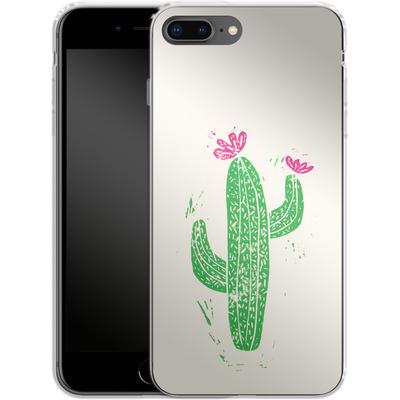 Apple iPhone 7 Plus Silikon Handyhuelle - Linocut Cacti von Bianca Green