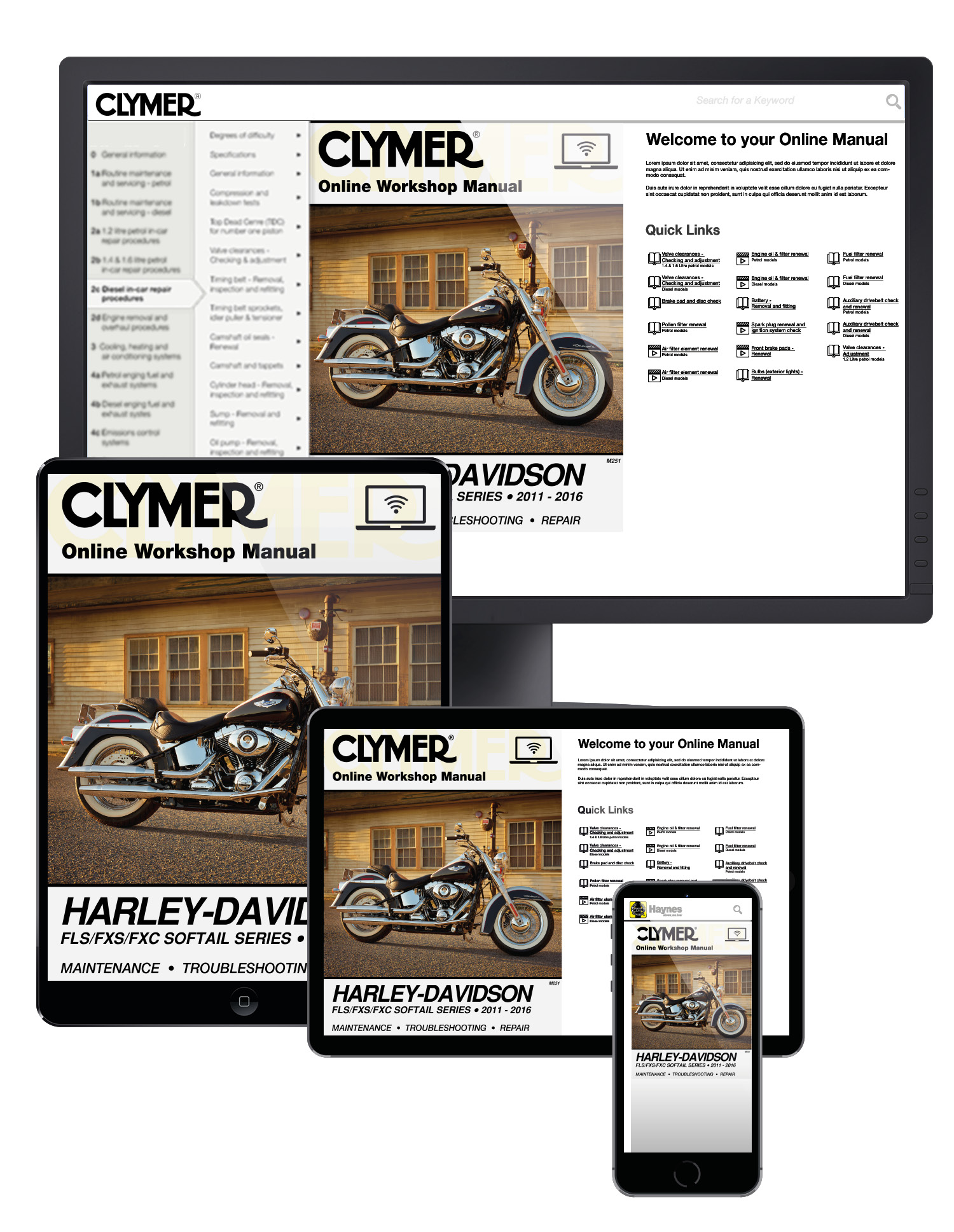 Harley-Davidson FLS/FXS/FXC Softail Series Motorcycle (2011-2016) Service Repair Manual Online Manual
