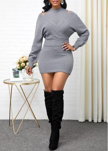 Wedding Guest Dress Long Sleeve Sweater and Sleeveless Light Grey Sweater Dress - XL