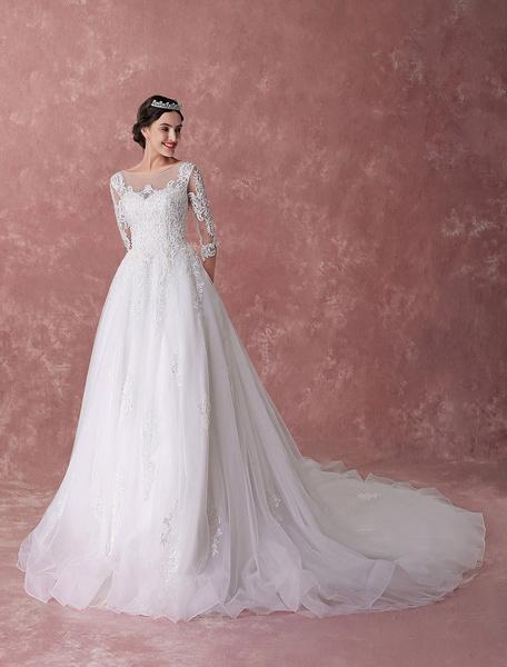 Milanoo Vestidos de novia de la princesa vestidos de bola de marfil de encaje rebordear vestido de novia de lujo capilla tren