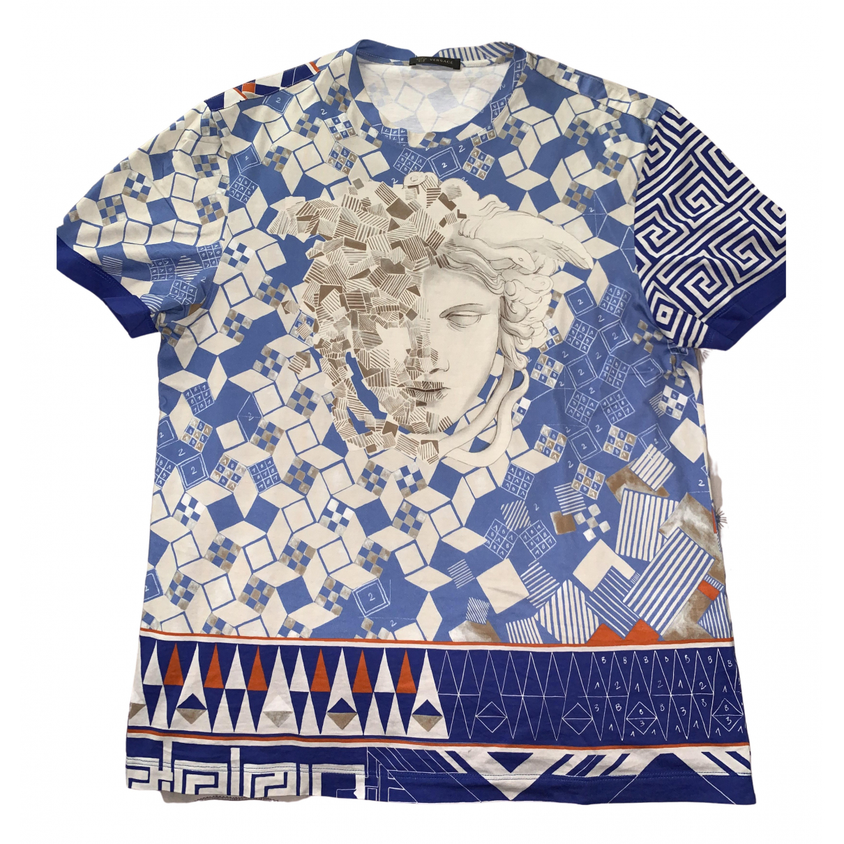 Versace - Tee shirts   pour homme en coton - bleu