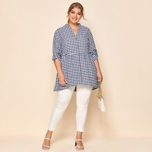Plus Gingham Button Through Roll Up Sleeve Blouse