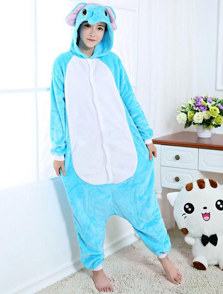 Milanoo Kigurumi Pajamas Elephant Onesie Blue Flannel Animal Winter Sleepwear For Adult Unisex Back With Zipper Costume Halloween