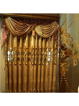 Golden Classical Pattern Gorgeous Style Heat Insulation Blackout Living Room Curtains