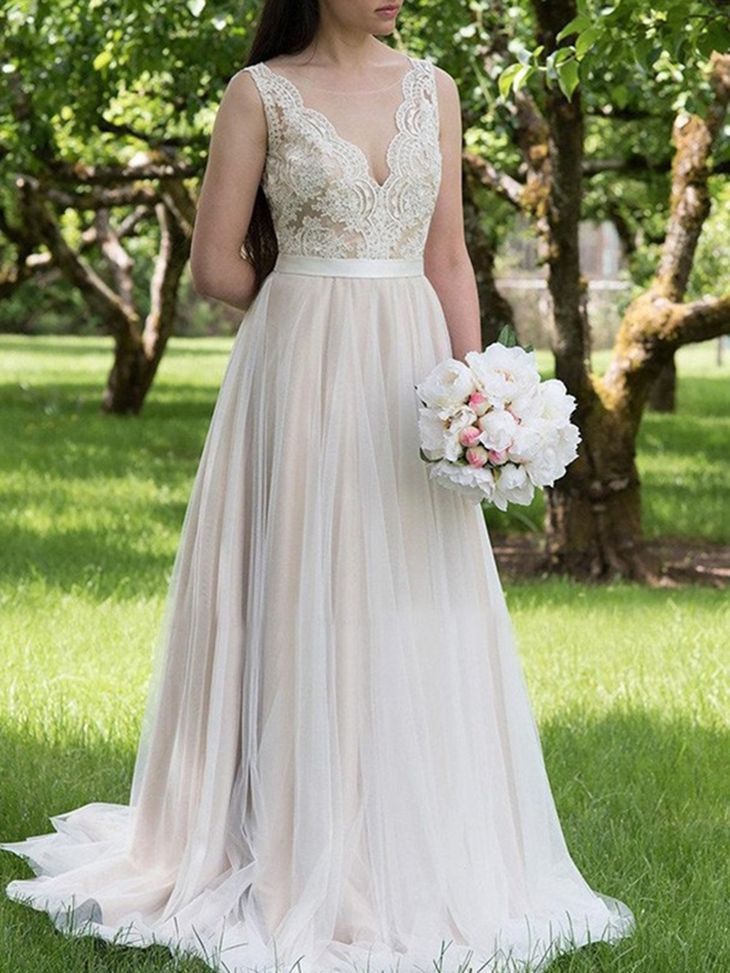 Ericdress Appliques Beach Plus Size Wedding Dress