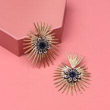 Rhinestone Decor Radiation Design Stud Earrings