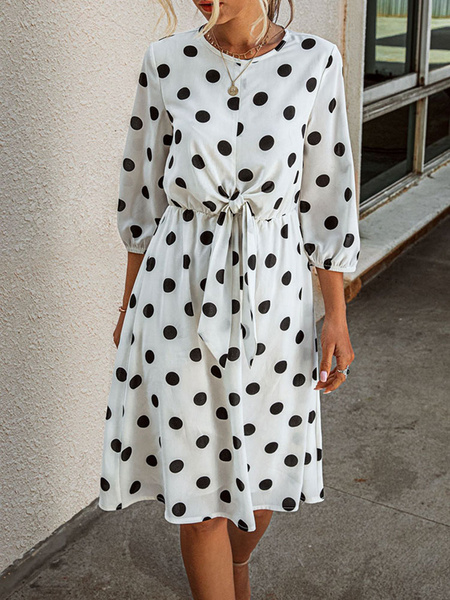 Milanoo Summer Dress White Jewel Neck Polka Dot Half-Sleeves Cotton Blend Beach Dress