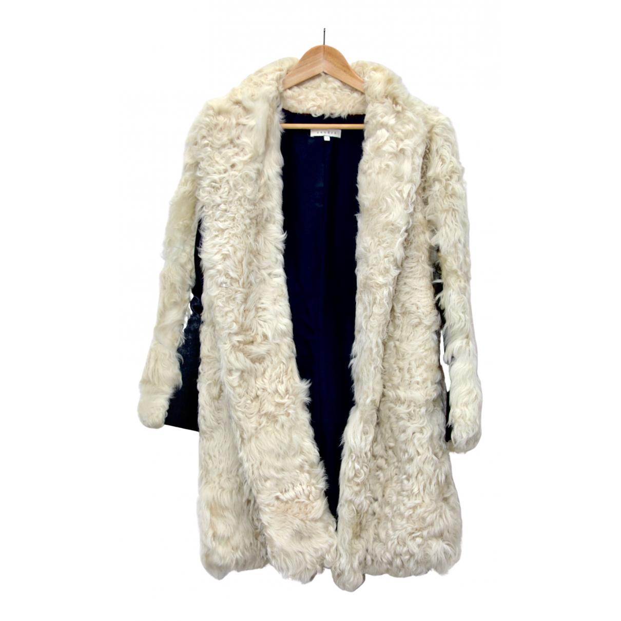 Sandro - Manteau   pour femme en laine - blanc
