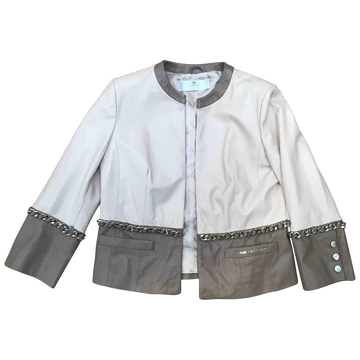 Elisabetta Franchi \N Pink Leather jacket for Women 46 IT
