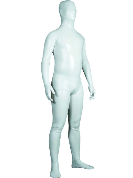 Milanoo Morph Suit White Unisex Shiny Metallic Fabric Zentai Suit Unisex Full Body Suit