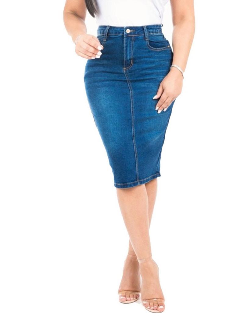 Ericdress Plain Denim Bodycon Knee-Length Skirt