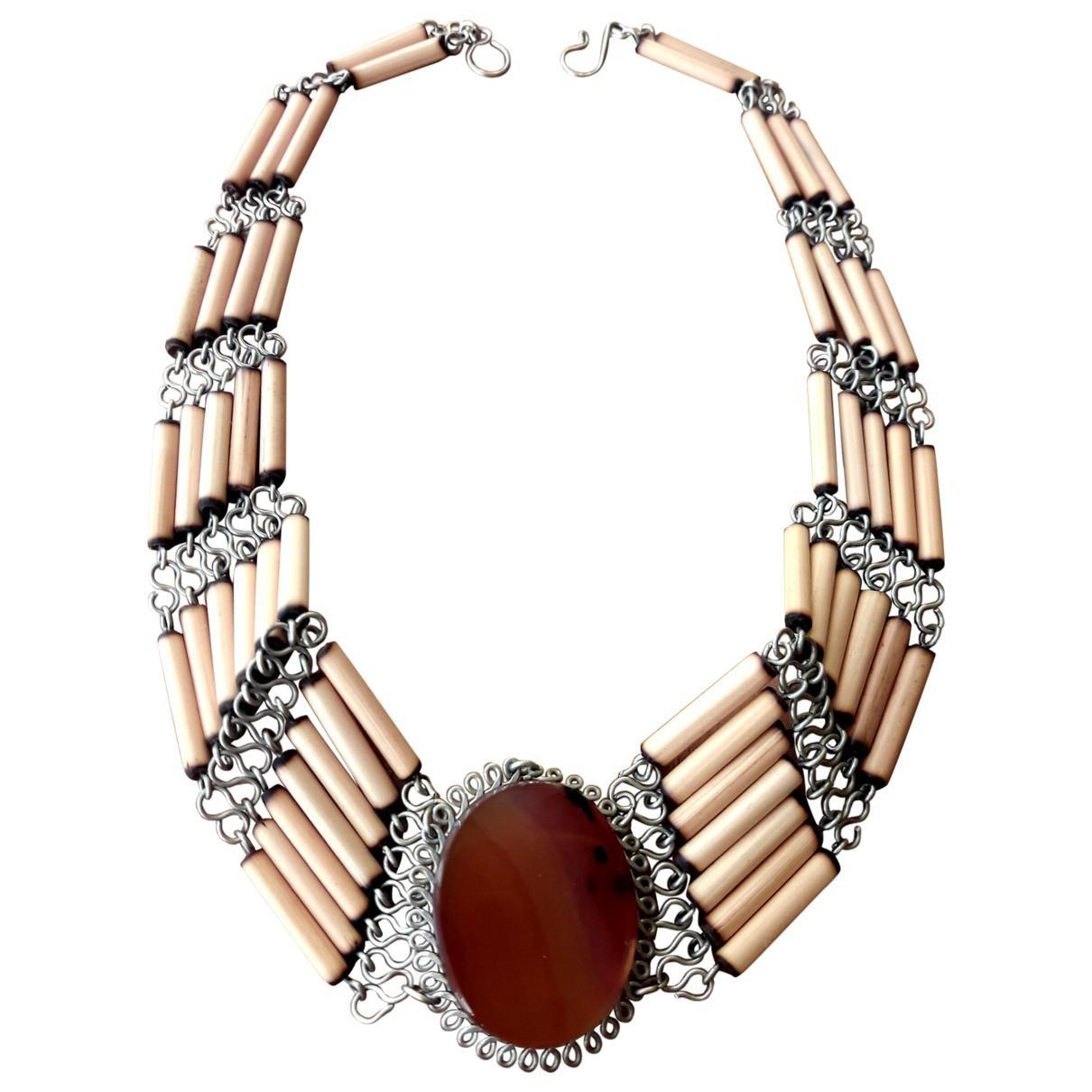 - Collier Motifs Ethniques pour femme en bois - marron