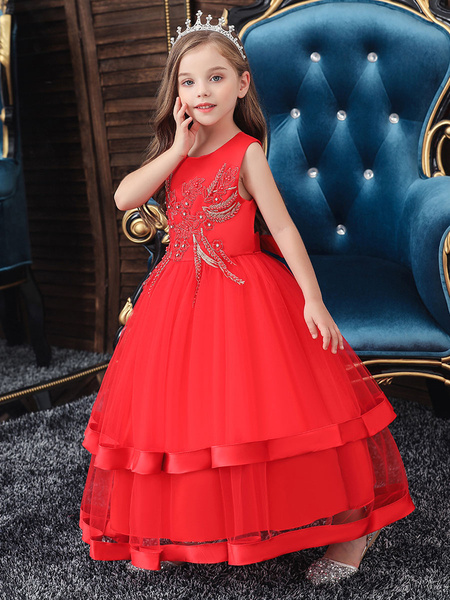 Milanoo Flower Girl Dresses Jewel Neck Polyester Cotton Sleeveless Ankle Length Princess Silhouette Beaded Formal Kids Pageant Dresses