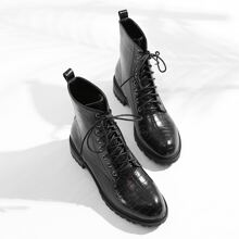 Croc Embossed Lace-up Front Boots