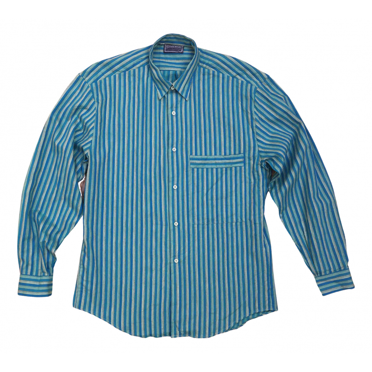 Non Signé / Unsigned N Turquoise Cotton Shirts for Men S International