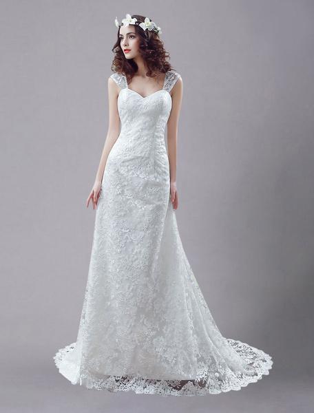 Milanoo Blanco vestido de novia con escote de hombros caidos y capas