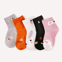 5 pares calcetines de niñitas con estampado de dibujos animados