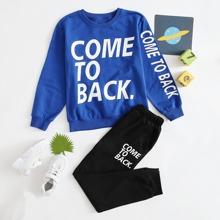 Boys Slogan Graphic Pullover & Joggers Set