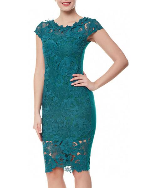 Milanoo Lace Dresses Cyan Jewel Neck Short Sleeves Layered Hollow Out Ruffles Midi Dresses