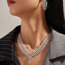 1pc Rhinestone Decor Statement Necklace & 1pair Earrings