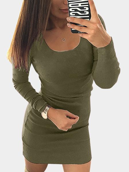 Yoins Army Green Round Neck Bodycon Mini Dress