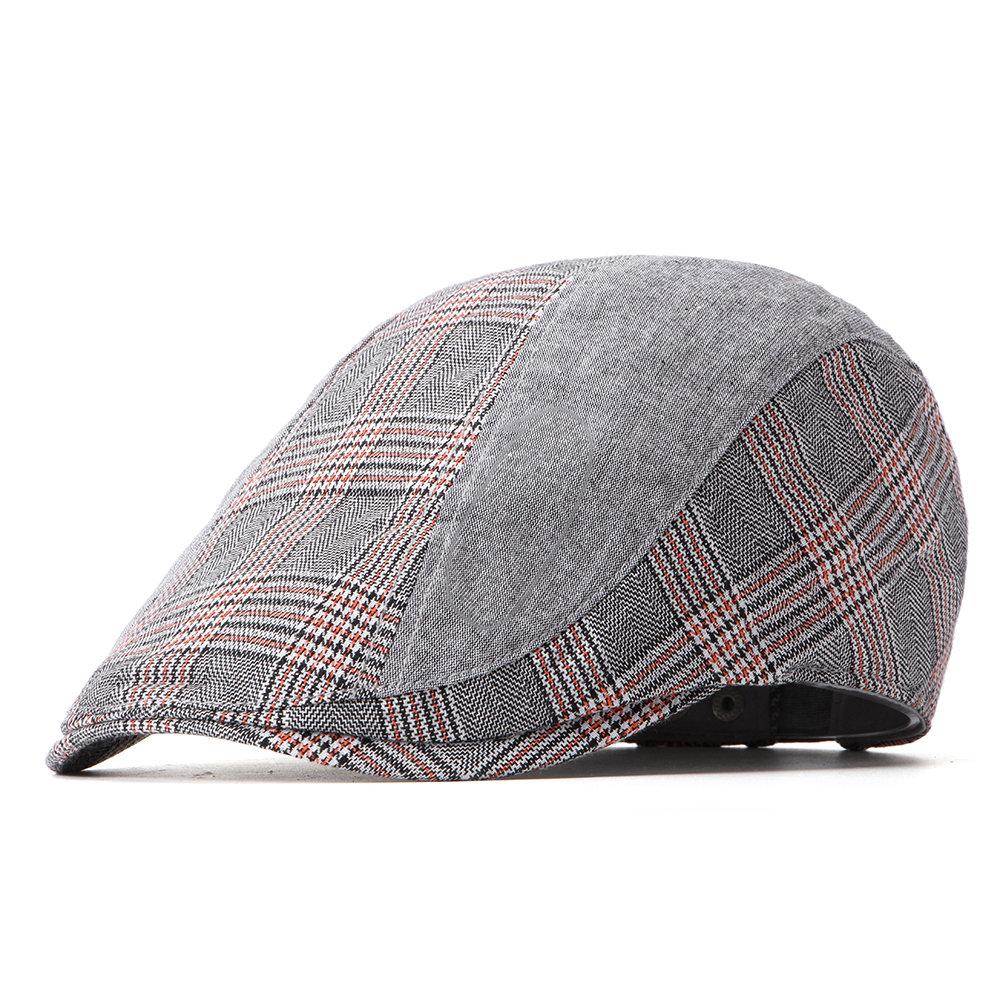 Men Women Cotton Lattice Beret Cap Duck Hat Sunshade Casual Outdoors Peaked Forward Cap