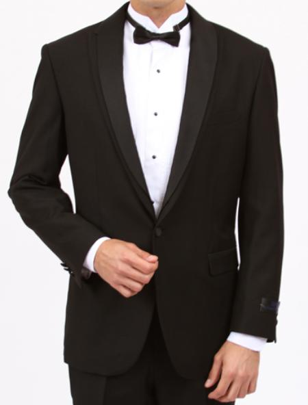 Mens Black Slim Fit Center Vent 1 Button Tuxedo