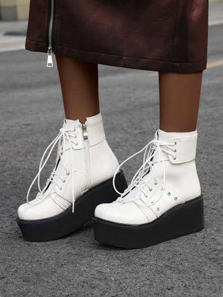 Milanoo Gothic Lolita Boots Flatform Wedge PU Leather Lace Up Round Toe Lolita Footwear
