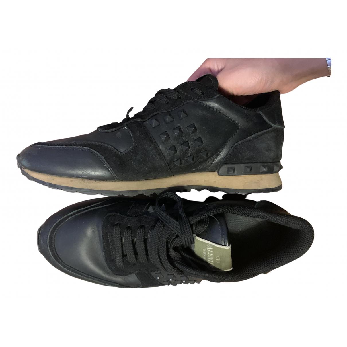Valentino Garavani - Baskets Rockrunner pour homme en cuir - noir