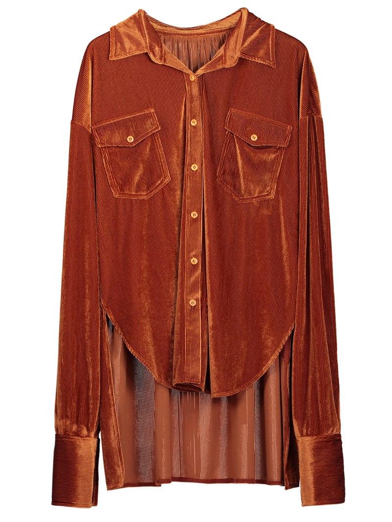 Ericdress Stand Collar Number Tassel Patchwork Women's Shirt