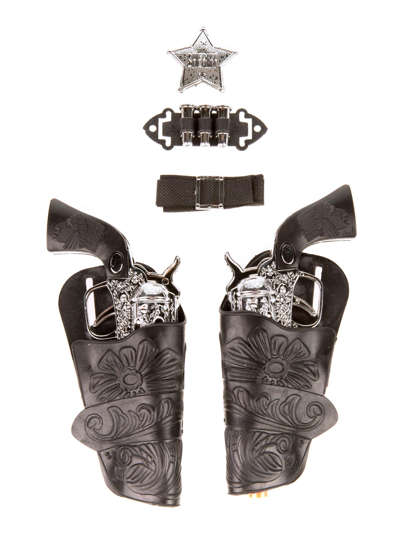 Kostuemzubehor Cowboy Pistolen Set 7-tlg. Farbe: schwarz