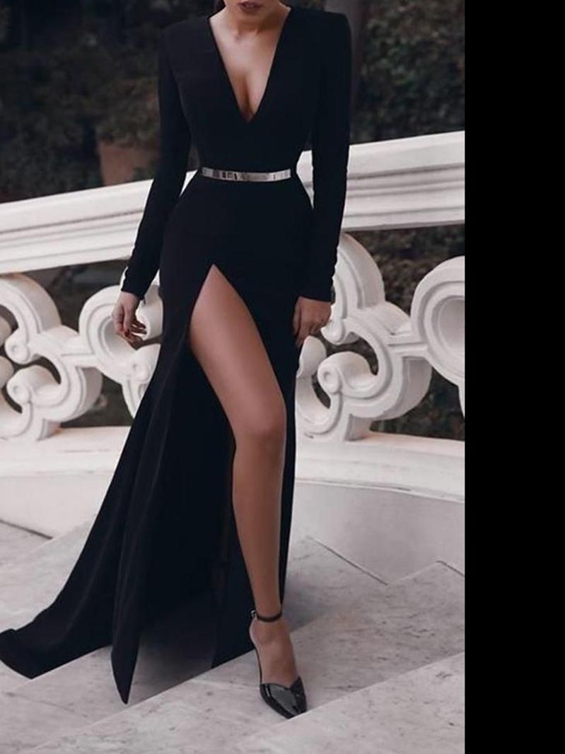 Ericdress V-Neck Long Sleeves Black Evening Dress