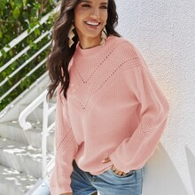 Solid Pointelle Knit Sweater
