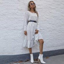 Ruffle Hem Polka-dot Print Dress Without Belt