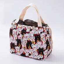 Cat Print Drawstring Lunch Bag