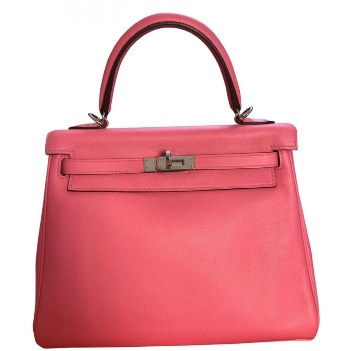 Hermes Kelly 25 Handtasche in  Rosa Leder
