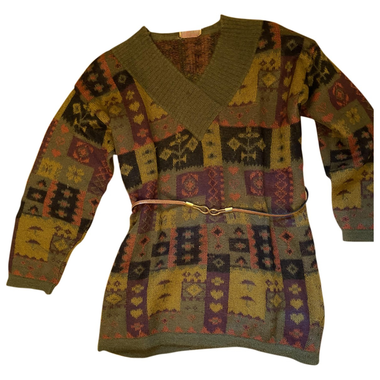 Non Signe / Unsigned Oversize Kleid in  Bunt Wolle