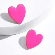 Heart Shaped Dripping Oil Stud Earrings