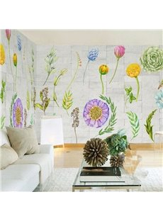 3D Flowers Printed on Brick Background Sturdy Waterproof and Eco-friendly Wall Mural