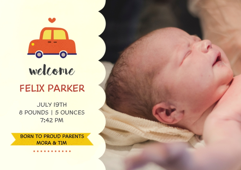 Baby Announcements 5x7 Cards, Standard Cardstock 85lb, Card & Stationery -Precious Cargo