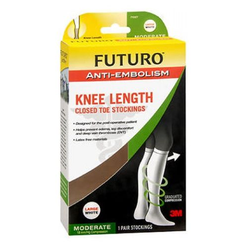 Futuro Anti-Embolism Knee Length Closed Toe Stockings White Moderate Large each by 3M