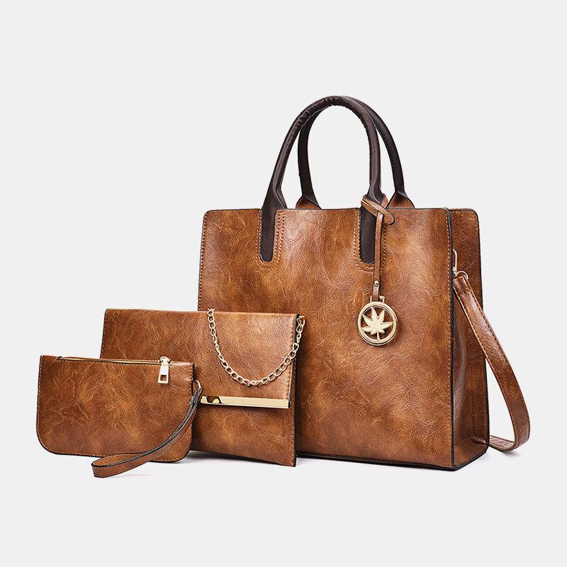 3 PCS Women PU Leather Handbag Crossbody Bag Solid Shoulder Bag