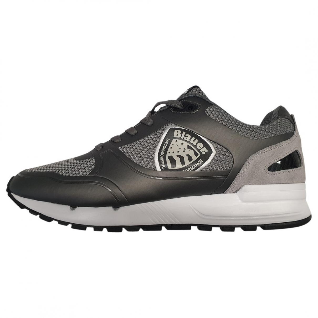 Blauer \N Sneakers in  Grau Leinen