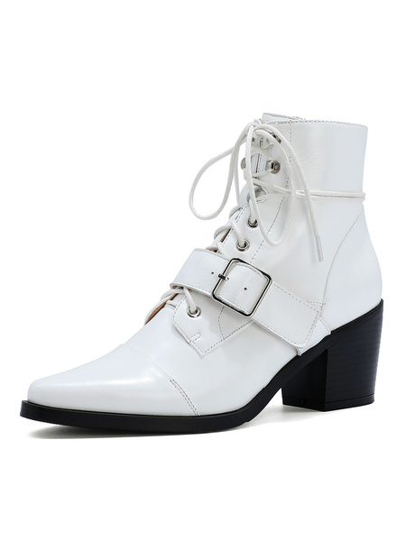 Milanoo Women Ankle Boots White Kid Skin Pointed Toe Buckle Puppy Heel