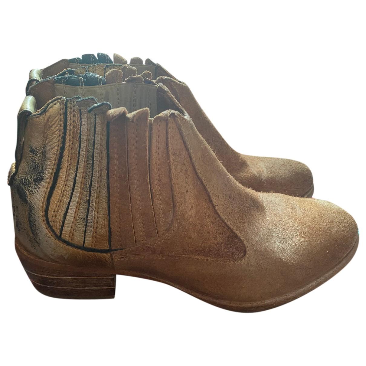 Moma - Boots   pour femme en suede - metallise