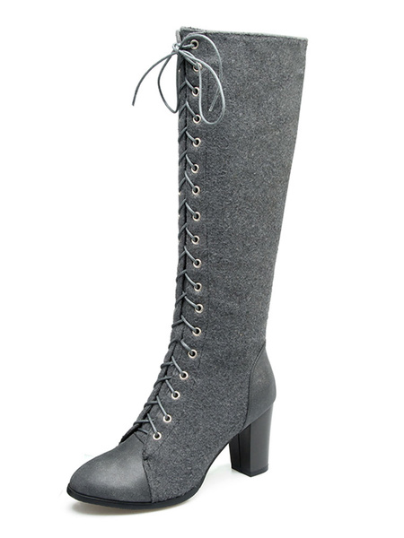 Milanoo Knee High Boots Womens PU and Micro Suede Lace Up Round Toe Chunky Heel Boots