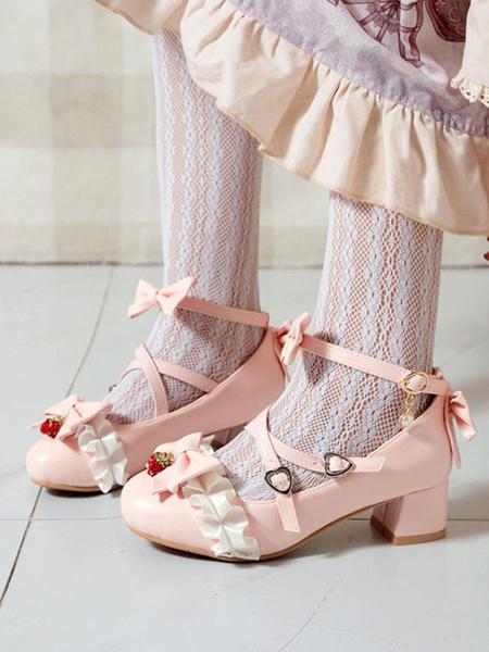 Milanoo Sweet Lolita Shoes Strawberry Bows PU Leather Chunky Heel Lolita Pumps